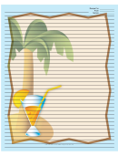 Palm Tree Drink Blue Recipe Card 8x10