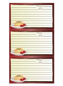 Red Dessert Recipe Card Template
