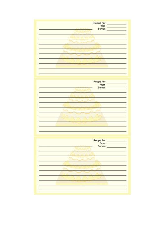 Yellow Tiered Cake Recipe Card Template