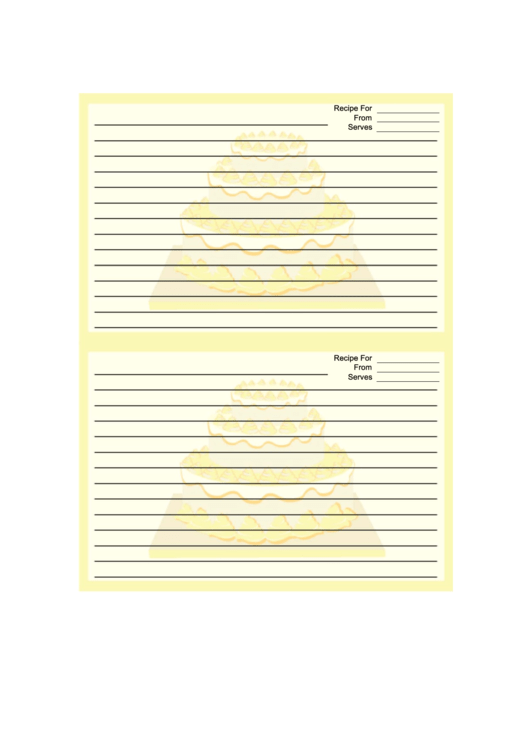 Yellow Tiered Cake Recipe Card Template 4x6