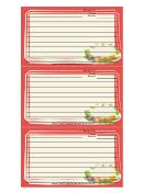 Orange Vegetables Recipe Card Template