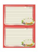 Orange Vegetables Recipe Card Template 4x6