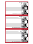 Red Squares Recipe Card Template