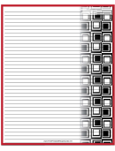 Red Squares Recipe Card 8x10