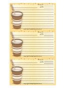 Yellow Paper Cup Recipe Card Template