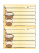 Yellow Paper Cup Recipe Card 4x6