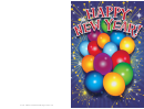 Balloons New Years Card Template