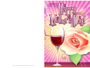 Wine And Rose Mothers Day Card