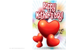 Red Hearts Mothers Day Card