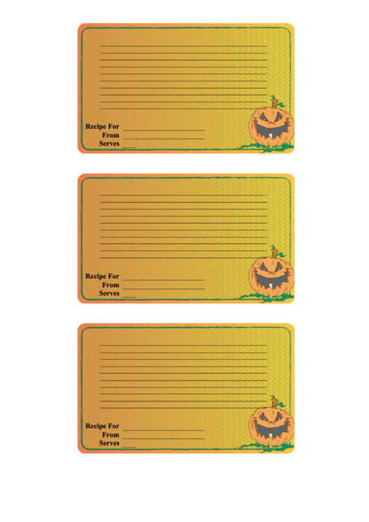 Halloween Recipe Card Template