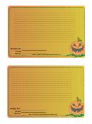 Halloween 4x6 Recipe Card Template