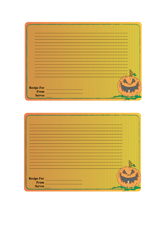 Halloween 4x6 Recipe Card Template