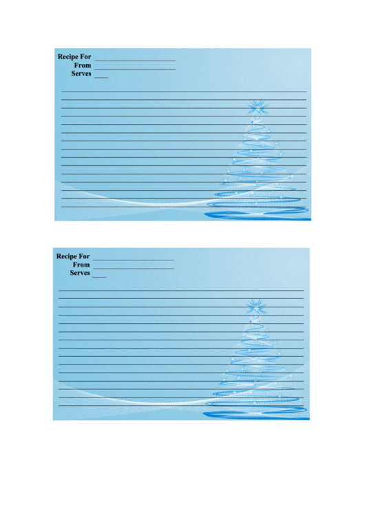 Blue Pine Tree Recipe Card Template