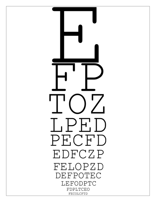Snellen Eye Chart printable pdf download
