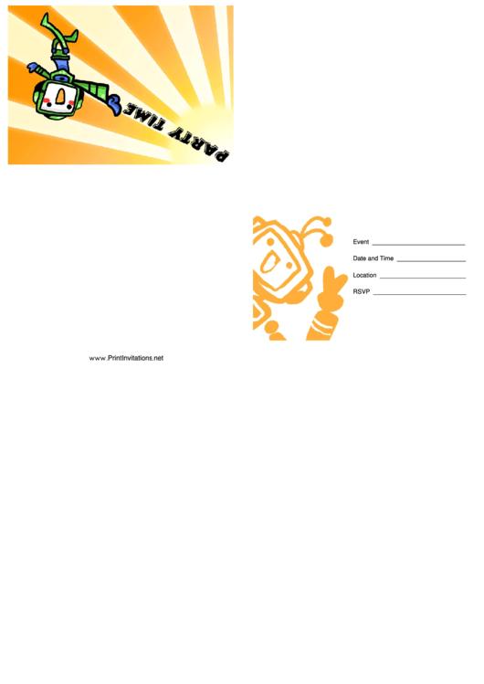 Party Invitation Template - Robot Printable pdf