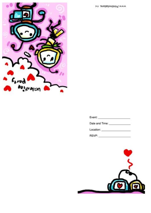 Purple Valentine Party Invitation Card Template