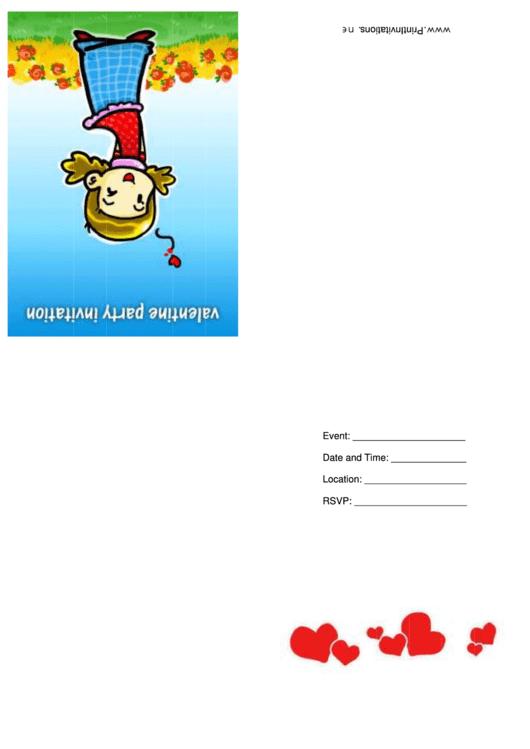 Valentine Party Invitation Card Template