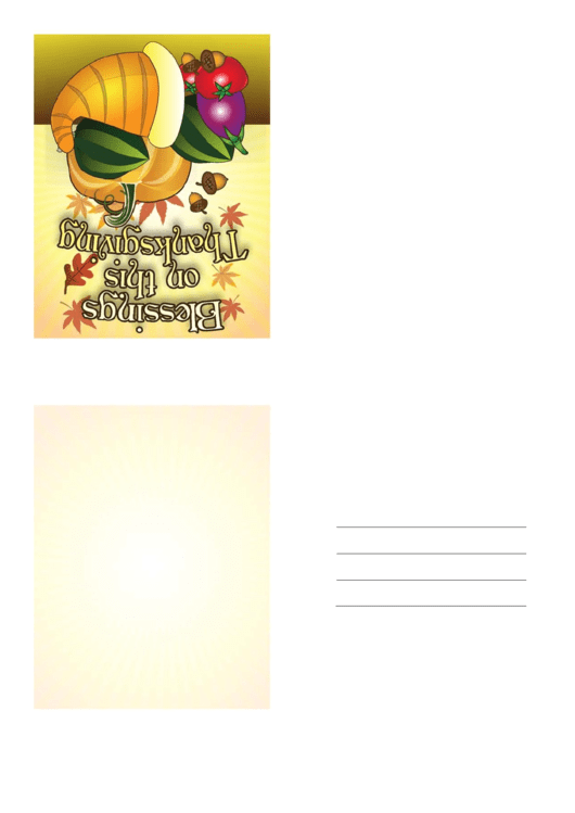 Blessings Thanksgiving Card Template