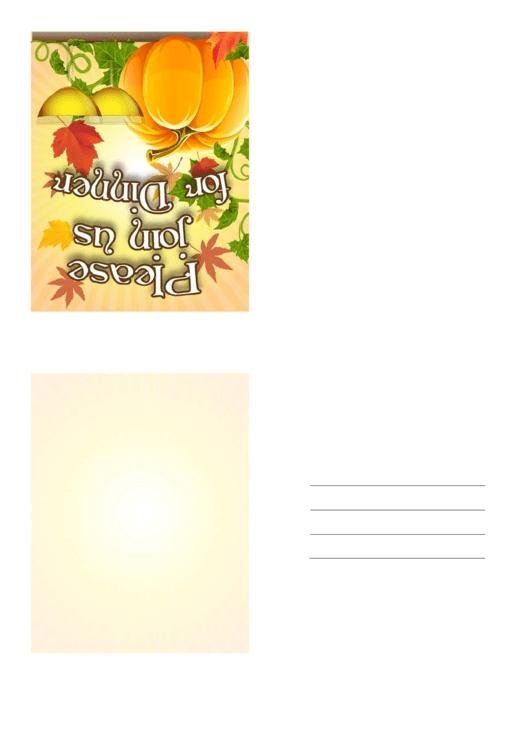 Thanksgiving Dinner Invitation Template Printable pdf