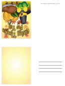 Giving Thanks Pilgrim Hat Thanksgiving Card Template