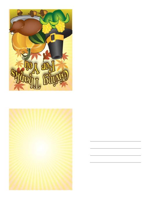 Giving Thanks Pilgrim Hat Thanksgiving Card Template Printable pdf