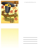 Happy Thanksgiving Pilgrim Hat Thanksgiving Card Template