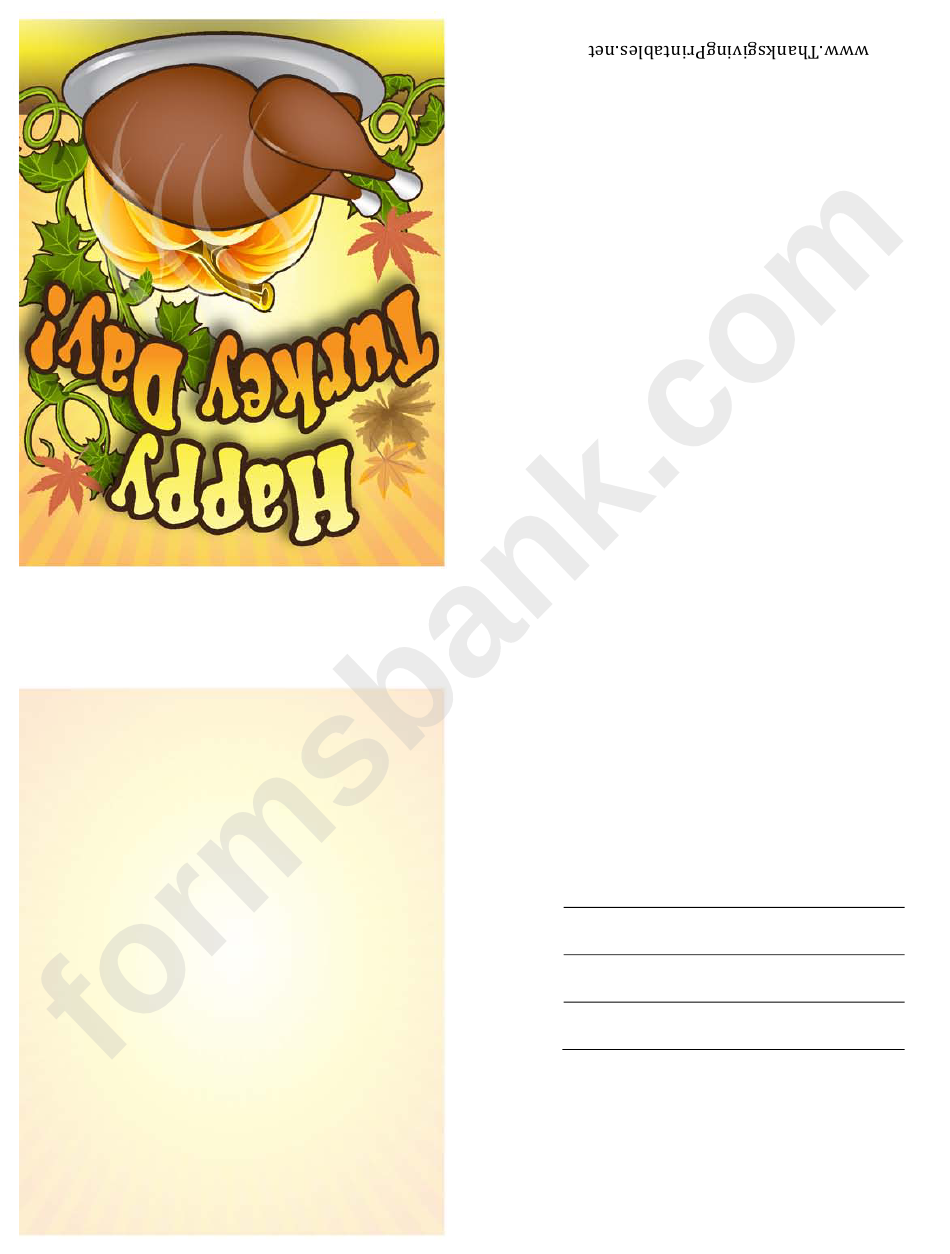 Happy Turkey Day Thanksgiving Card Template