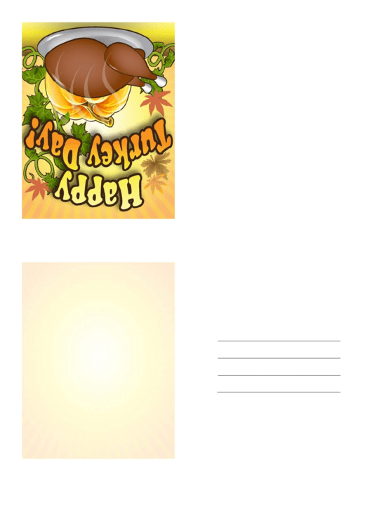 Happy Turkey Day Thanksgiving Card Template Printable pdf
