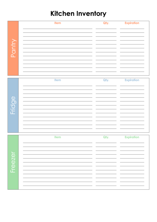 Kitchen Inventory Printable pdf