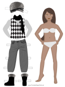 Winter Clothes Paper Doll (female)
