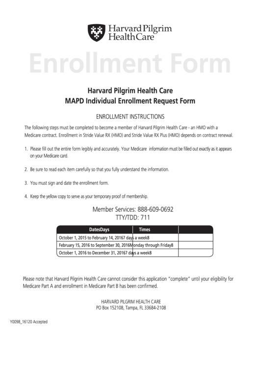 Harvard Pilgrim Health Care Mapd Individual Enrollment Request Form