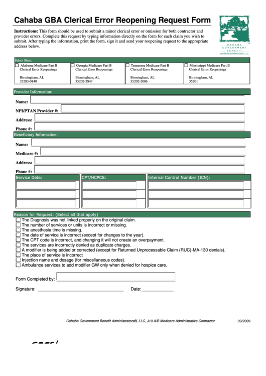 Cahaba Gba Clerical Error Reopening Request Form