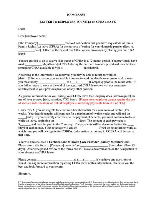 Letter To Employee To Initiate Cfra Leave Template Printable pdf