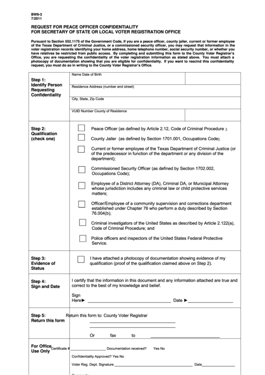 Form Bw9-3 - Request For Peace Officer Confidentiality For Secretary Of State Or Local Voter Registration Office