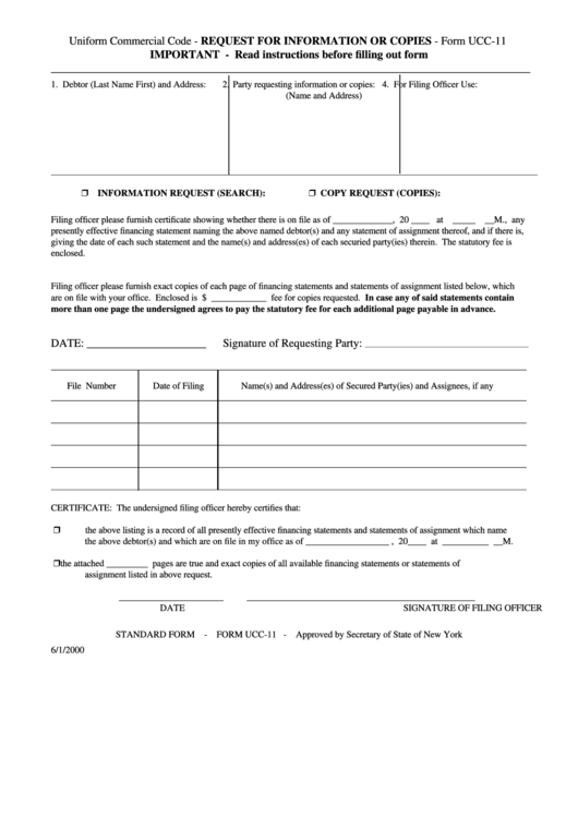 Form Ucc-11 - Request For Information Or Copies printable pdf download