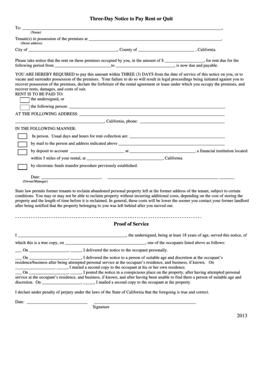 Top 15 3 day notice to pay or quit form templates free to download three day notice to pay rent or quit form 2013 thecheapjerseys Gallery