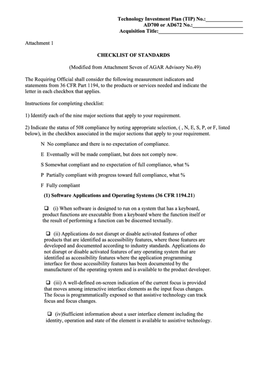 Attachment 1 - Checklist Of Standards (Modified From Attachment Seven Of Agar Advisory No.49) - U.s. Department Of Agriculture Printable pdf