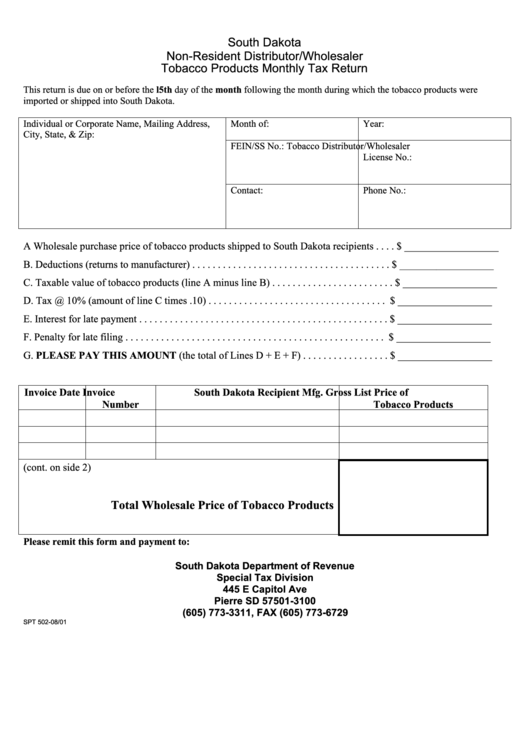 Fillable Form Spt 502 - Non-Resident Distributor/wholesaler Tobacco Products Monthly Tax Return Printable pdf