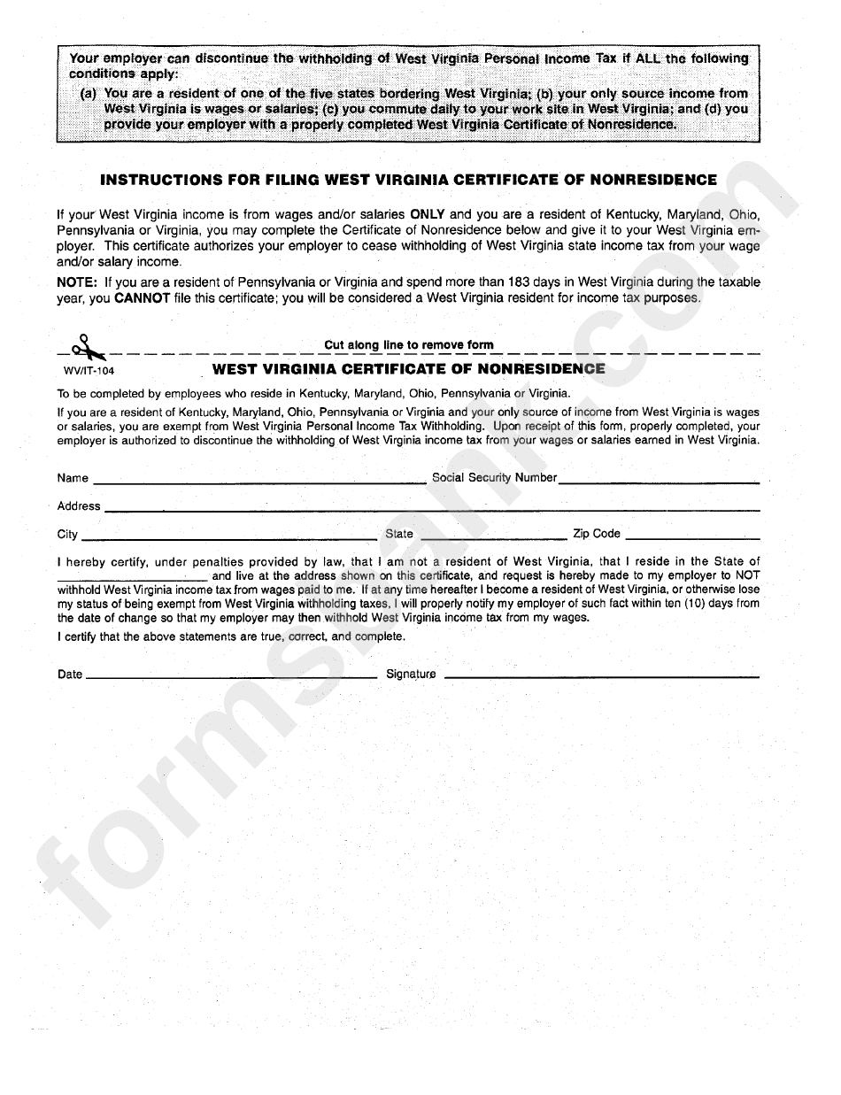 Form Wv/it-104 - West Virginia Certificate Of Nonresidence