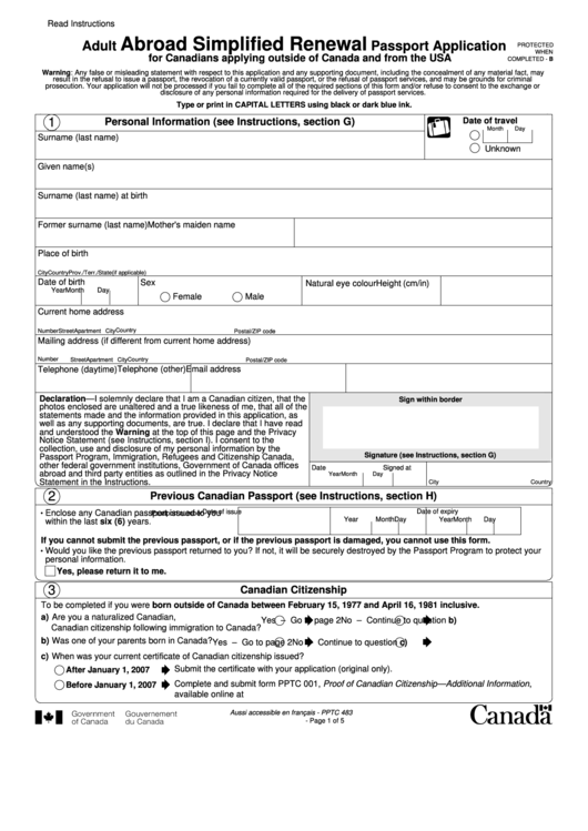 Top Canadian Passport Application Form Templates Free To Download In