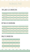 Wishlist Top & Dress Size Conversions Chart