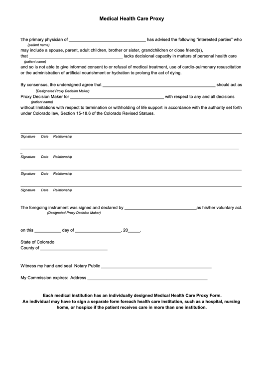 Sle Health Care Proxy ~ Medical Proxy Form