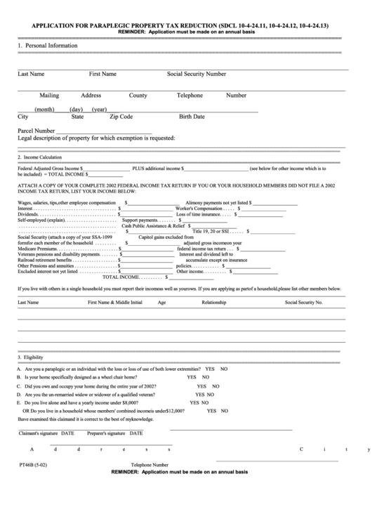 Form Pt 46b - Application For Paraplegic Property Tax Reduction Printable pdf