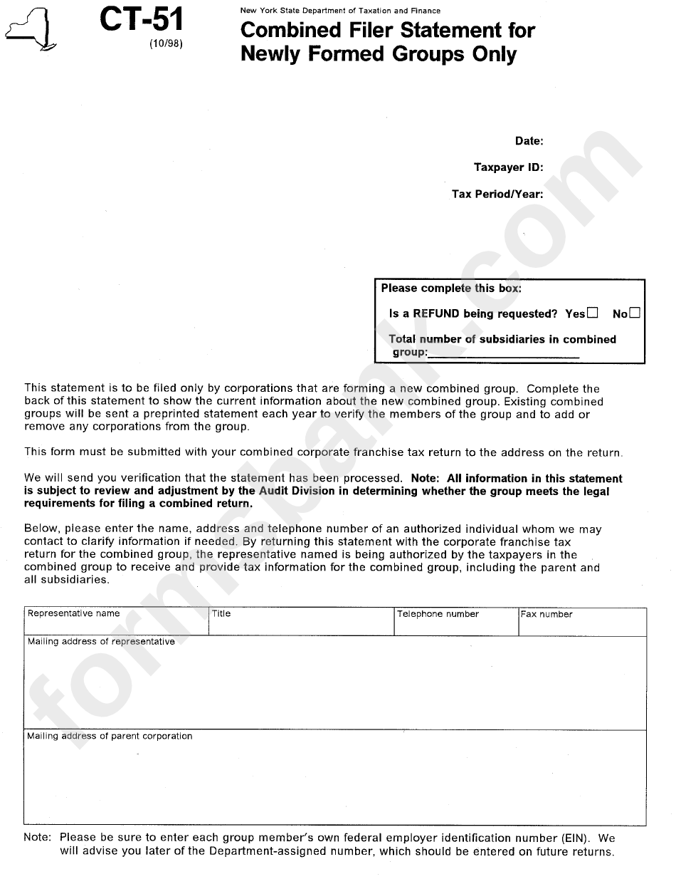Form Ct-51 - Combined Filer Statement For Newly Formed Groups Only