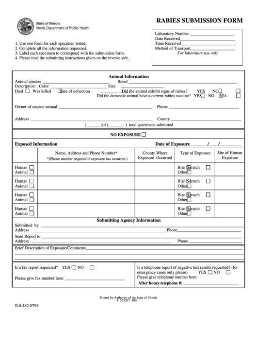 Form Il 482-0798 - Rabies Submission Form Printable pdf