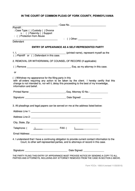 Fillable Form Ycciv - Entry Of Appearance As A Self-Represented Party - York County, Pennsylvania Printable pdf