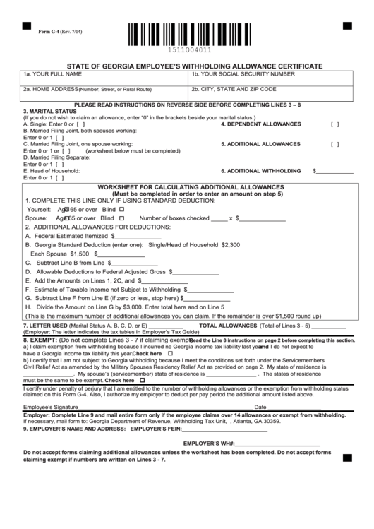 Form G-4 - State Of Georgia Employee'S Withholding ...