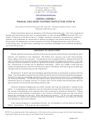 Instructions For Form 19 - General Assembly Financial Disclosure Statement