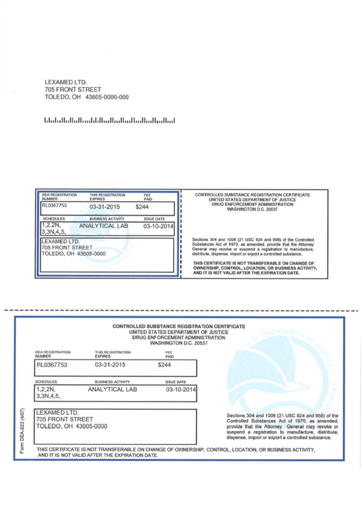 Form Dea 223 Controlled Substance Registration