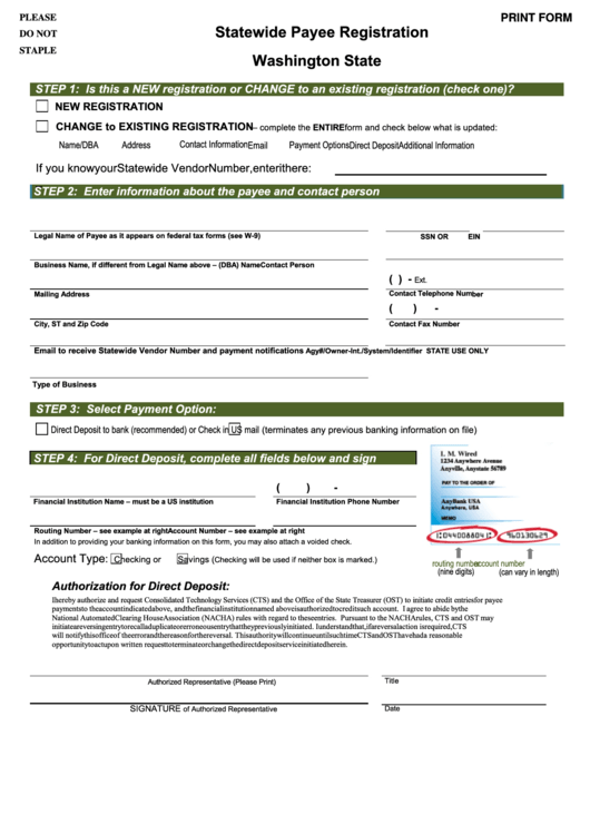 Fillable Washington State Statewide Payee Registration With